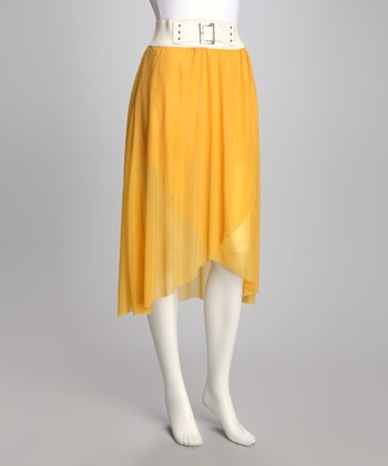 Yellow Wrap Belted Skirt