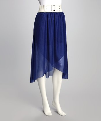 Blue Wrap Belted Skirt