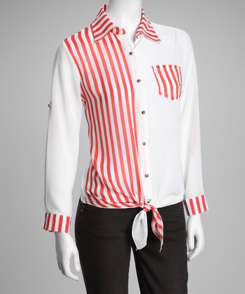 Red Sheer Stripe Tie-Waist Button-Up Top