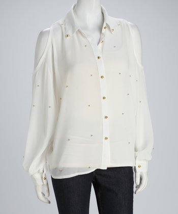 White Sheer Cutout Button-Up Top