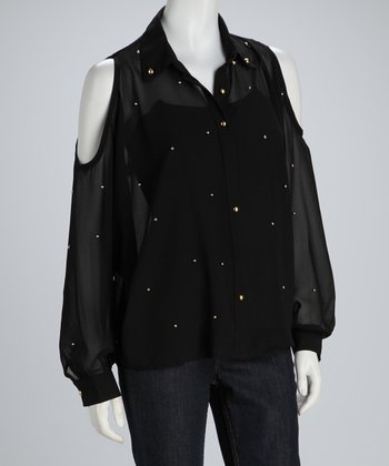 Black Sheer Cutout Button-Up Top