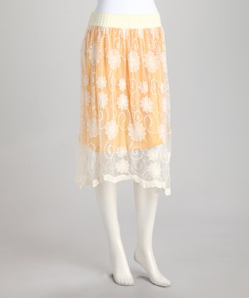 Gold Doily Lace Overlay Skirt