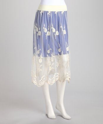 Blue Doily Lace Overlay Skirt