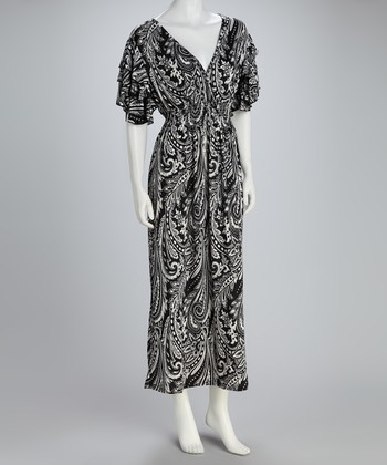 Black & White Paisley Shirred Maxi Dress