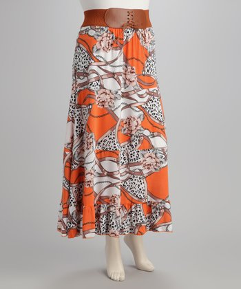 Orange & White Plus-Size Skirt
