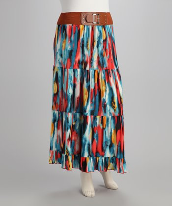Fuchsia & Blue Plus-Size Skirt
