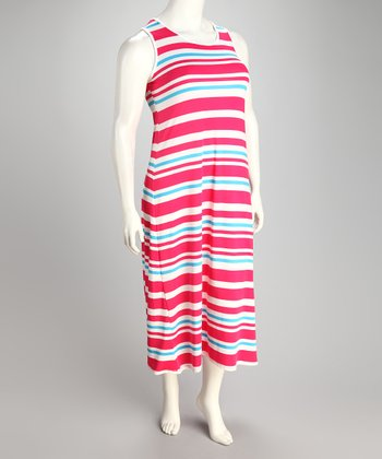 Fuchsia Stripe Plus-Size Sleeveless Maxi Dress