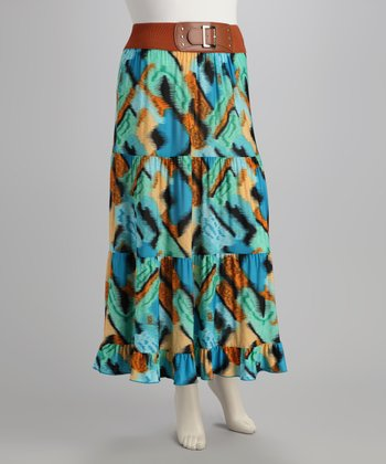 Turquoise & Orange Plus-Size Skirt