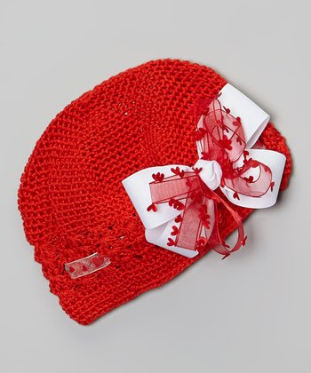 Red Crocheted Beanie & Heart Bow Clip
