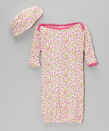 Pink & Green Heart Gown & Beanie - Infant