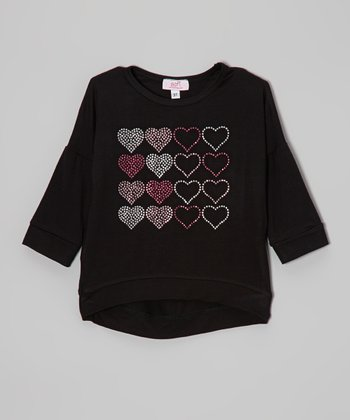 Black Rhinestone Heart Hi-Low Tee - Infant, Toddler & Girls