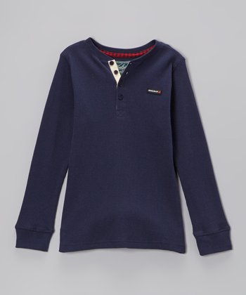 Navy Thermal Henley - Toddler
