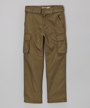 Olive Belted Cargo Pants - Toddler & Boys