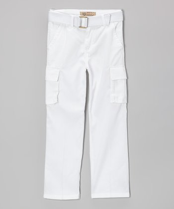 White Belted Cargo Pants - Toddler & Boys