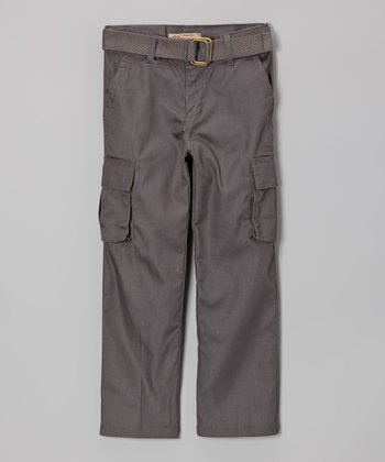 Gray Belted Cargo Pants - Boys