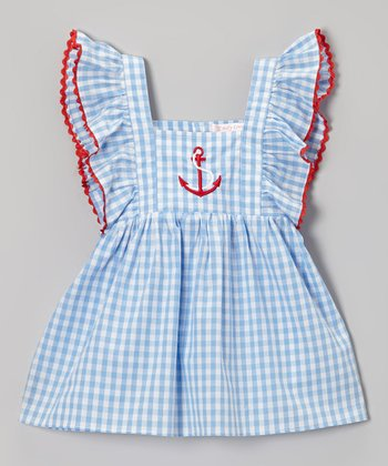 Blue Gingham Anchor Angel-Sleeve Dress - Infant, Toddler & Girls