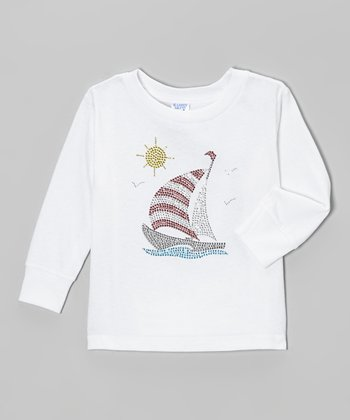 White Sailboat Rhinestone Tee - Girls