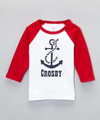 White & Red Anchor Personalized Raglan Tee - Toddler & Boys