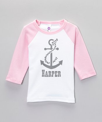 White & Pink Anchor Personalized Raglan Tee - Toddler & Girls