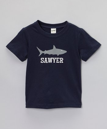 Navy Blue Shark Personalized Tee - Toddler & Boys