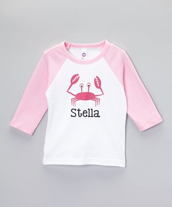 White & Pink Crab Personalized Raglan Tee - Toddler & Girls