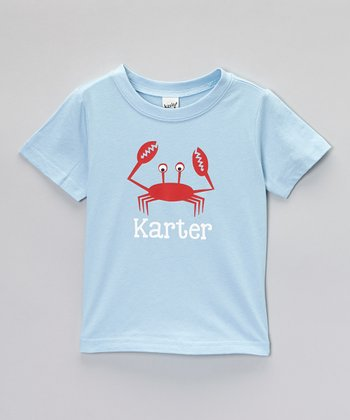 Light Blue Crab Personalized Tee - Toddler & Boys