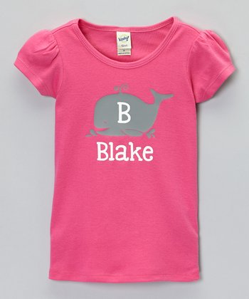 Dark Pink Whale Personalized Tee - Infant, Toddler & Girls