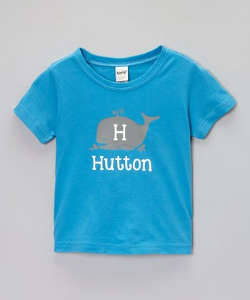 Turquoise Whale Personalized Tee - Toddler & Boys