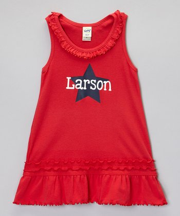 Red Star Ruffle Personalized Dress - Infant, Toddler & Girls