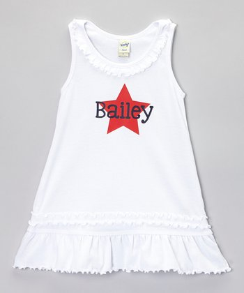 White Star Ruffle Personalized Dress - Infant, Toddler & Girls