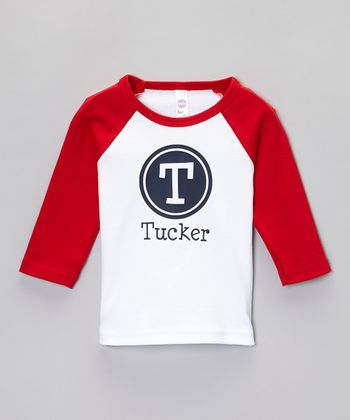 White & Red Oval Personalized Raglan Tee - Toddler & Kids