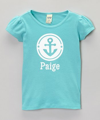 Caribbean Blue Anchor Personalized Tee - Infant, Toddler & Girls