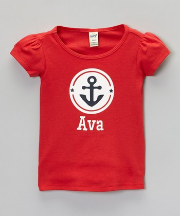 Red Anchor Personalized Puff-Sleeve Tee - Infant, Toddler & Girls