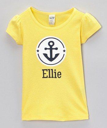 Yellow & Navy Anchor Personalized Tee - Infant, Toddler & Girls