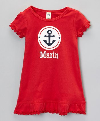 Red Anchor Personalized Dress - Infant, Toddler & Girls