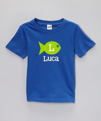 Cobalt Blue Fish Personalized Tee - Toddler & Boys