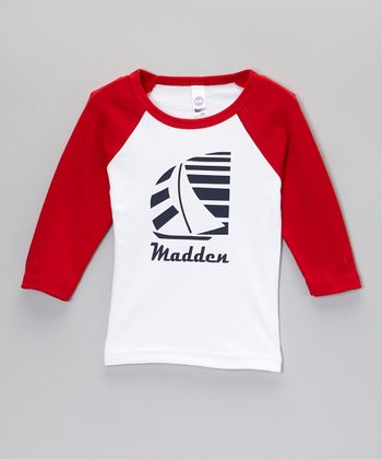 White & Red Sailboat Personalized Raglan Tee - Toddler & Boys