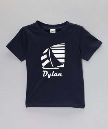 Navy Blue Retro Sailboat Personalized Tee - Toddler & Boys