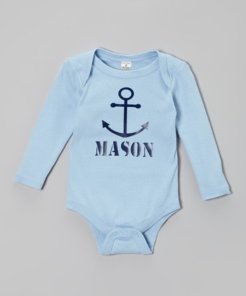 Light Blue Anchor Personalized Bodysuit - Infant
