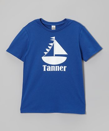 Royal Blue Sail Boat Personalized Tee - Infant, Toddler & Girls