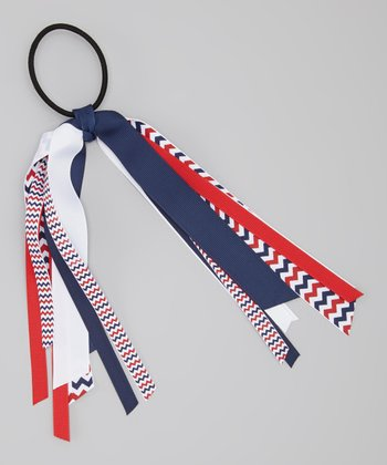 Navy & Red Zigzag Ribbon Hair Tie