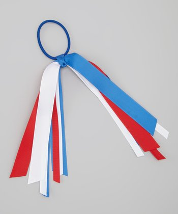 Red & Blue Ribbon Hair Tie