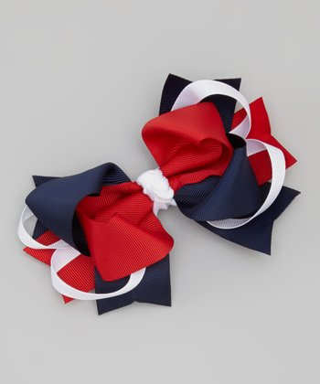 Navy & Red Bow Clip