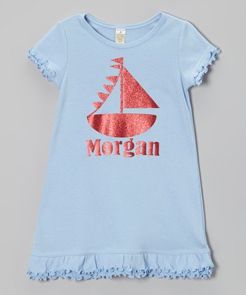 Light Blue Sailboat Personalized Dress - Infant, Toddler & Girls