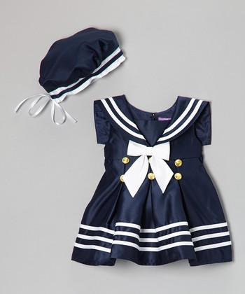 Navy & White Stripe Nautical Dress & Beret - Infant & Toddler