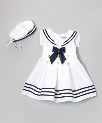 White & Navy Stripe Nautical Dress & Beret - Infant & Toddler