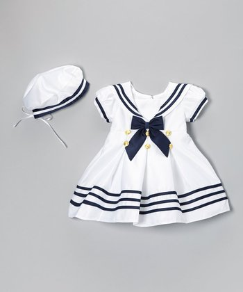 White Nautical Short-Sleeve Dress & Beret - Infant & Toddler