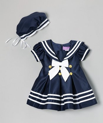 Navy Nautical Short-Sleeve Dress & Beret - Infant & Toddler