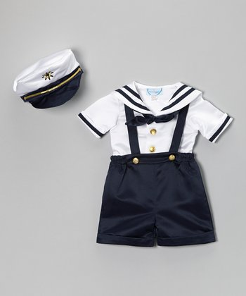 Navy Nautical Satin Shortalls Set - Infant & Toddler