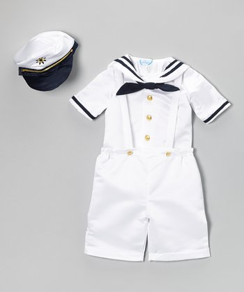 White Nautical Satin Shortalls Set - Infant & Toddler